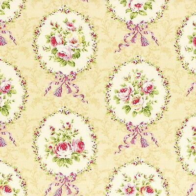 4 - 5/8 Yards ~ Beige Rococo Sweet Roses Floral Lecien Japan #3562