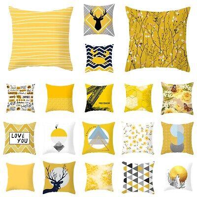 Squar Yellow Geometric Pillow Case Sofa Car Waist Throw Cushion Cover Home Decor