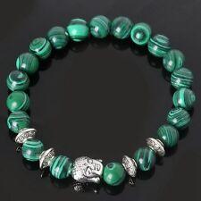 Stone Gift Yoga Bangle Natural Stone Beads Malachite Bracelet Sliver Buddha