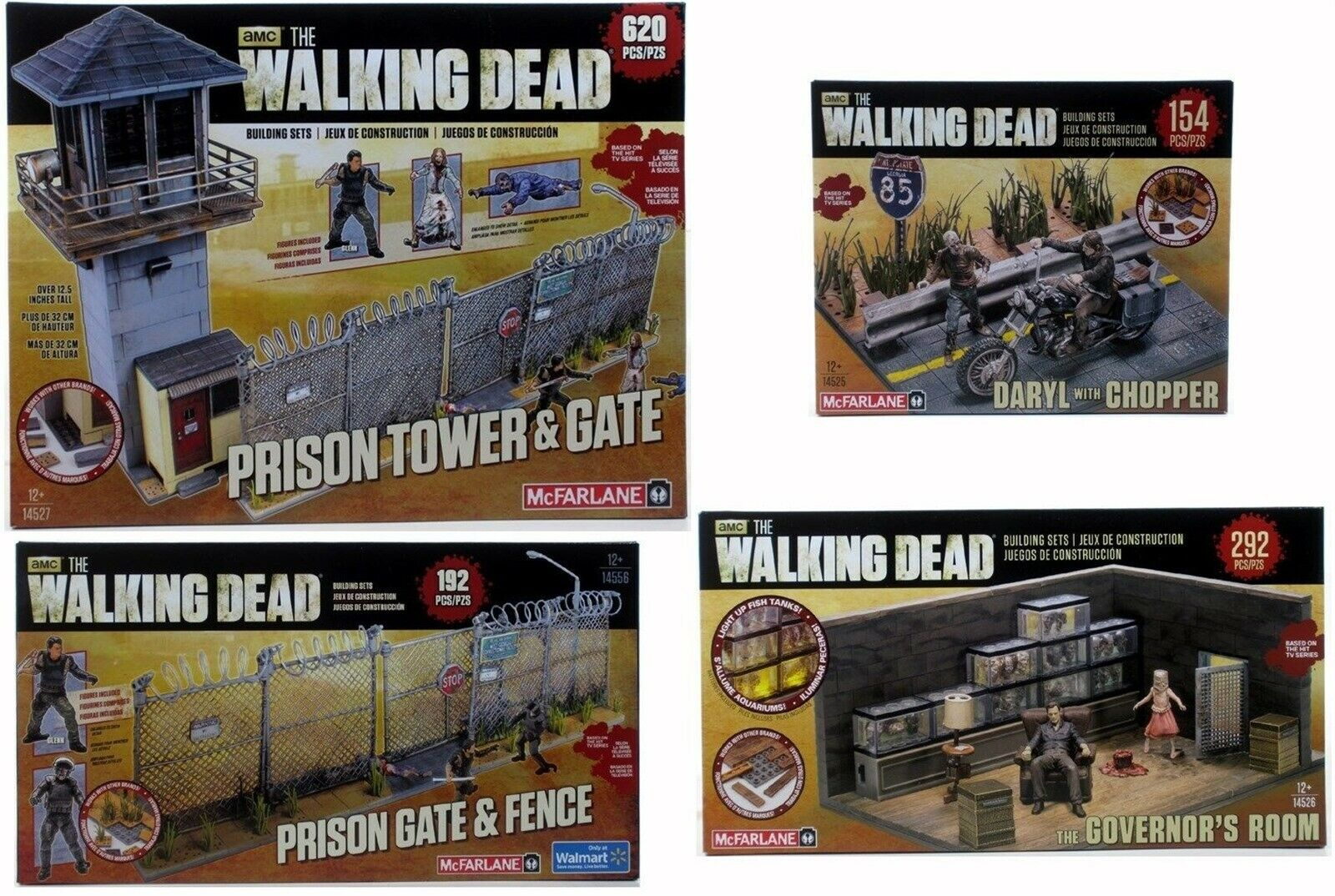 Mcfarlane Walking Dead Lote de 4 conjuntos de construcción prisión TORRE Puerta Gov habitación Darryl