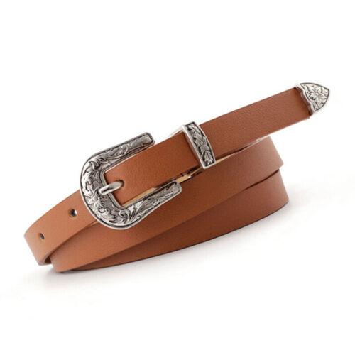 Damen Damen Boho Vintage Gürtelschnalle Gürtel Frau dünnes schmales Leder