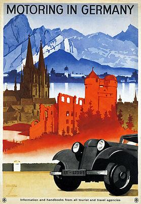 Ta66 Vintage Motoring en Alemania de viajes alemana Poster volver a imprimir A4