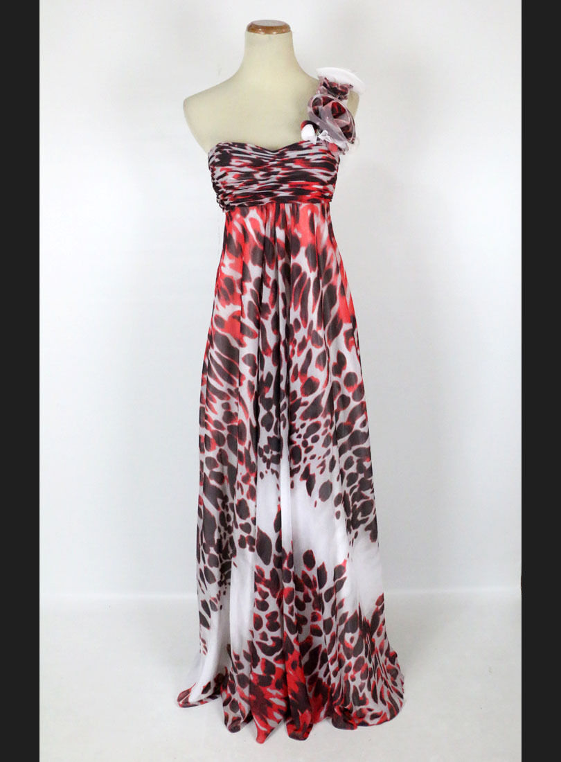 New Jovani 3924 Authentic Print One-Shoulder Floral Evening Women Gown Dress 0