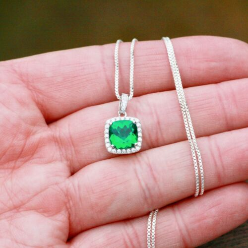 Details about  /Created Emerald Pendant Solid Sterling Silver 925 wedding May birthstone