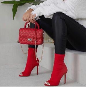 Tronchetti-spuntati-donna-in-tessuto-elasticizzato-scarpe-con-tacco-spillo-alto