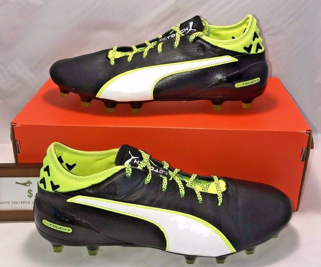 PUMA MENS SIZE 11 EVOTOUCH 2 FG BLACK VOLT LEATHER SOCCER CLEATS NEW 330 RARE