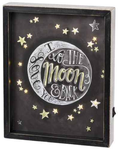 Primitives By Kathy Reverse LED Box Sign I Love You To The Moon And Back Black