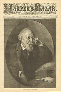 Robert-Browning-Writer-Poet-Portrait-amp-Text-Vintage-1887-Antique-Art-Print
