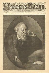 Robert-Browning-Writer-Poet-Portrait-Text-Vintage-1887-Antique-Art-Print
