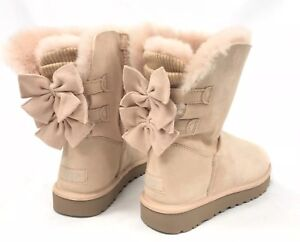 3fdee6ff3af Details about UGG Australia BAILEY KNIT BOW SHORT BOOTS RUFFLE Amberlight  Shearling 1095794