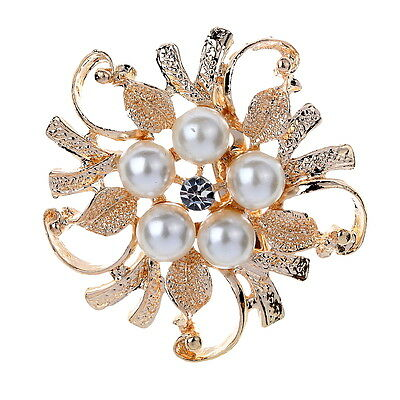 Hot Silver Rhinestone Crystal Wedding Bridal Bouquet Flower Faux Pearl Brooch