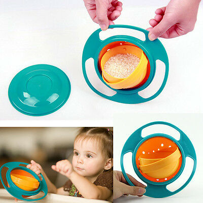 Non Spill Feeding Toddler Gyro Bowl Dishes 360 Rotate Baby Kid Avoid Food Spill