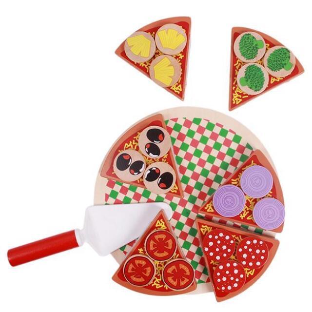 Kids Wooden Pizza Play Set Italian Food Dinner Kitchen Toy Children Playing - LH