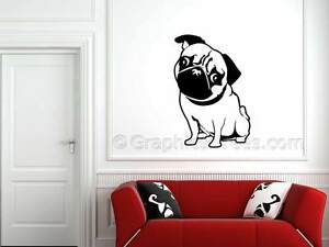 be9323c4057 Image is loading PUG-STICKER-CUTE-PUG-WALL-ART-DECAL-BEDROOM-