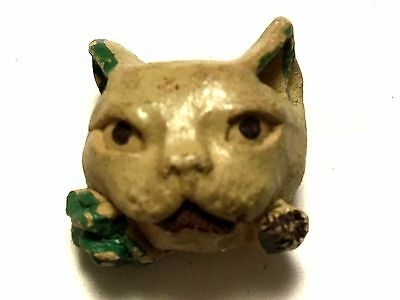 Antique Clay ? Stoneware ? Realistic Kitty Cat Vintage Sewing Button AVB246