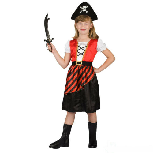 Girls Caribbean Pirate Fancy Dress Costume incl Hat for Halloween or Book Week