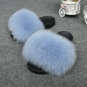 Women-Flurry-Fluffy-Real-Fox-Raccoon-Fur-Slider-Slides-Slippers-Outdoor-Sandals