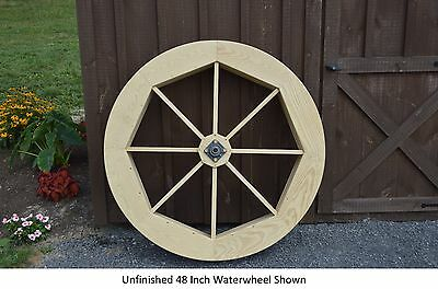 """Amish-Made Decorative Gristmill with 30/"""" Waterwheel Available in 9 Finishes"""