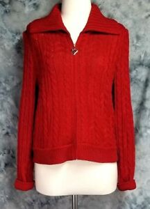 St-John-Collection-Womens-sz-6-Red-Santana-Cable-Knit-Full-Zip-Cardigan-Sweater
