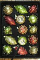 $40 Home Decorators Red Gold Green Glass Ornaments X15 Designer Glitter