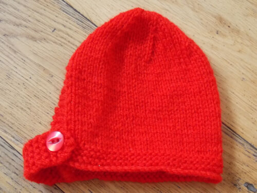 3-6 Brand New Hand Knitted Red Baby Bonnet 0-3 6-9 Months