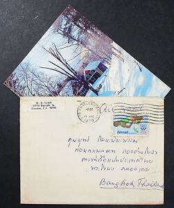 US-Airmail-Cover-Los-Angeles-Thailand-Olympics-Stamp-31c-USA-Lupo-Letter-H-7612