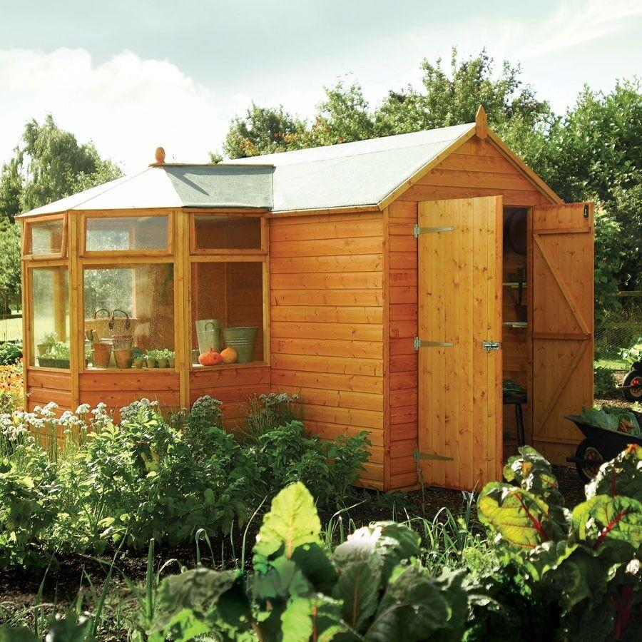Wooden Corner Potting Shed Greenhouse