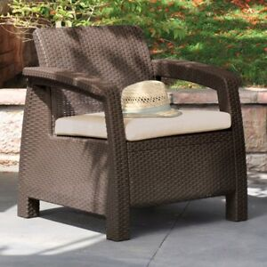 Image Is Loading Keter Corfu Rattan Resin Patio Outdoor Yard Armchair