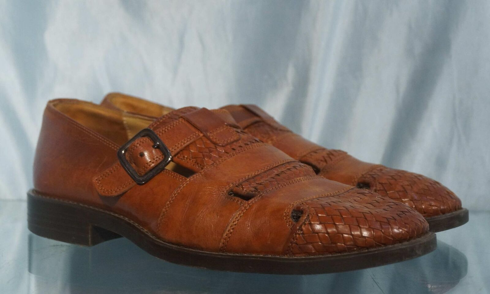 Comfortable Woven Closed Toe DIMITRI  Brown Leather Sandals Sz 9M