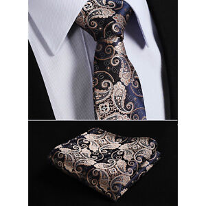 ad5fd5d78dbc Mens Tie Gold Brown Navy Blue Wedding Paisley Silk Floral Hanky | eBay