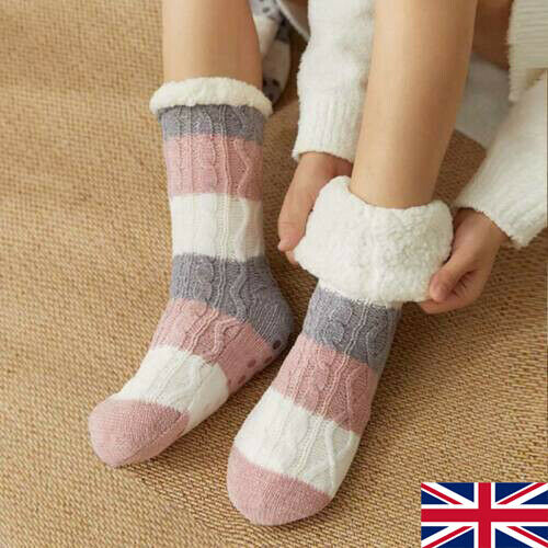 Ladies Winter Socks Thicken Knit Fleece Lined Indoor Socks Warm Fuzzy Slipper SV