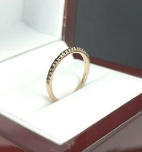14K Rose Gold Black Diamond Stackable Wedding Band Ring F322