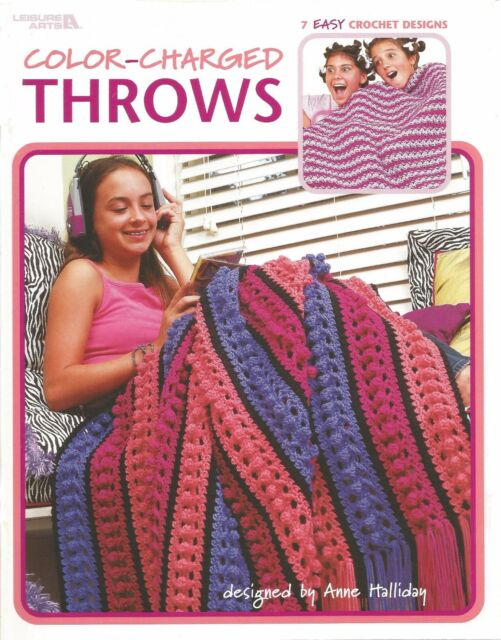 Crochet Pattern Book Color Charged Throws 7 Fun Loving Afghan
