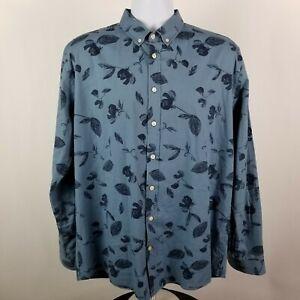 Frank-Oak-Mens-Blue-Floral-L-S-Dress-Button-Shirt-Sz-XL