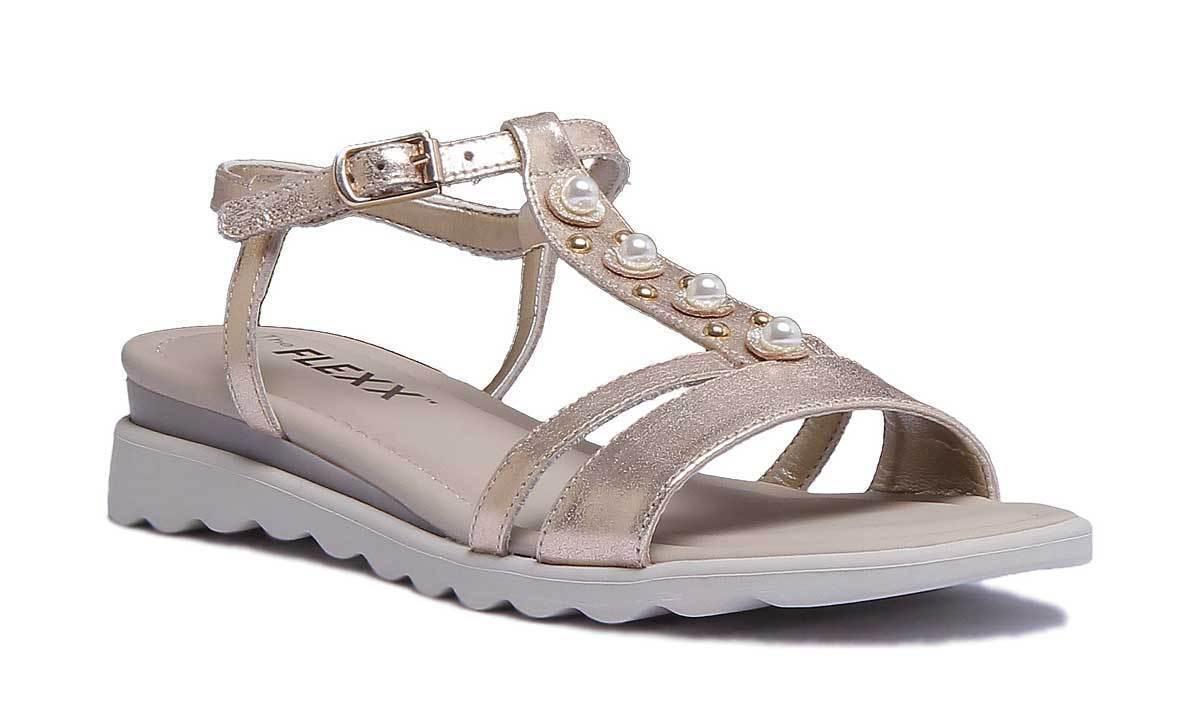The Flexx Cut Me damen Gold  Ledersandalen Sandale Sommer Schuhe