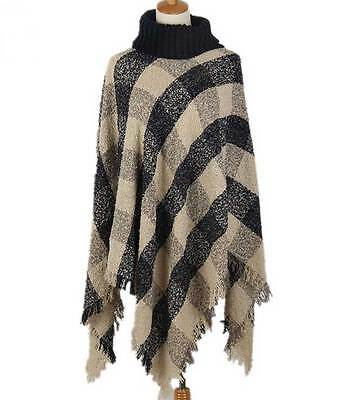 Ladies Poncho Stole Cape Shrug Wrap Shawl Jacket Jumper Sweater Turtleneck Plaid