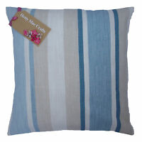 Laura Ashley Awning Stripe Seaspray fabric blue cushion cover in various sizes