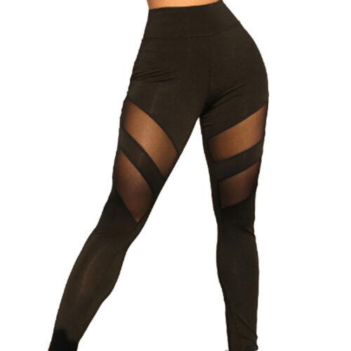 Women Sports Yoga Pants Mesh Leggings Gym Fitness Running High Waist Workout US