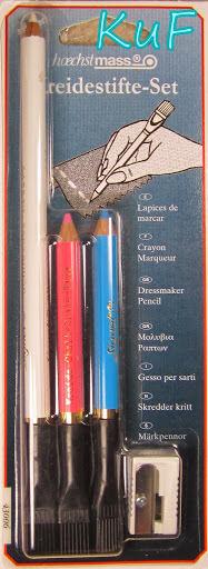 Kreidestifte SET (weiss, blau, rosa)  mit Bürste und Spitzer Schneiderkreide