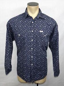 d4360000596a Vtg 90s Mens GUESS Marciano l/s blue paisley geometric western shirt ...