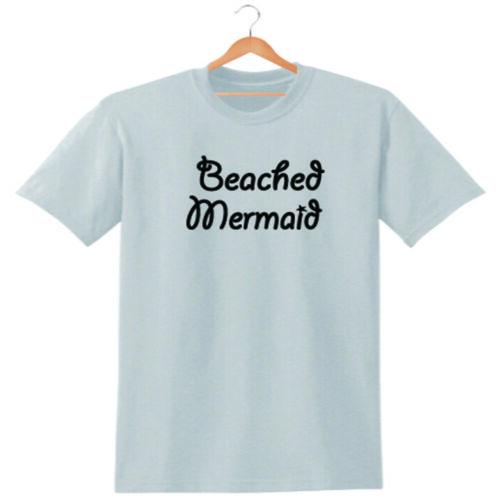 BEACHED MERMAID T SHIRT TEE WOMENS UNISEX SLOGAN BEACH HOLIDAY FUNNY LADIES