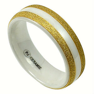 in Gift Box size 11 Men/'s White CERAMIC Ring with Brushed Golden Accent Bands