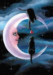 ACEO art print Cat 622 moon from original art painting by L.Dumas