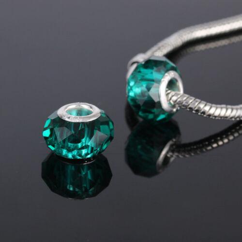5pcs Paon verre vert cristal perles lampwork pour bracelet européen /& Bracelet