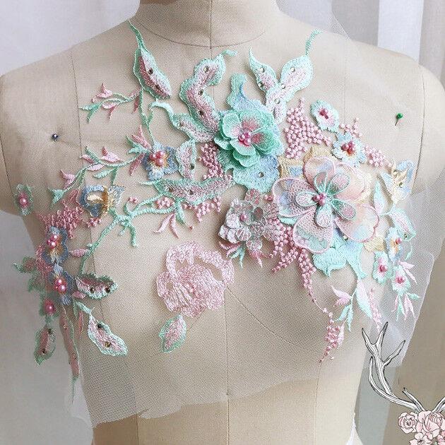 BaumwolleTüll Blumenmuster Schichten  Spitze Applikation Organza Braut Hochzeit