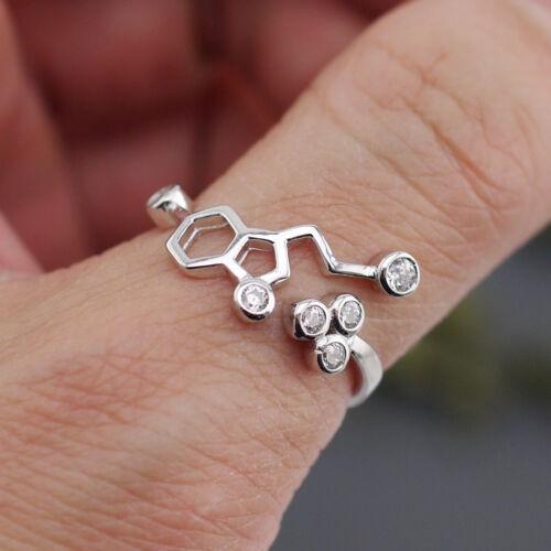 925 Sterling Silver Women MOLECULE Biochemistry Serotonin Adjustable Ring A3004