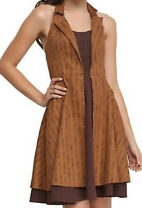 HOT-TOPIC-Dr-Who-Regeneration-brown-halter-dress-Women-039-s-XL-Cosplay