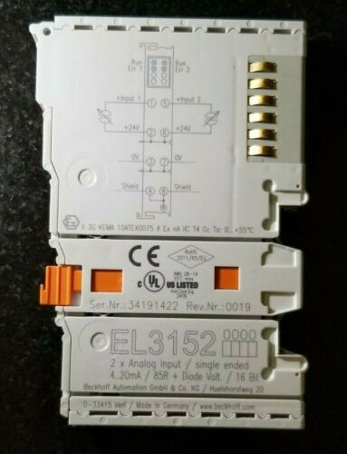 16 bit Beckhoff EL3152-2-channel analog input terminal 4…20 mA single-ended