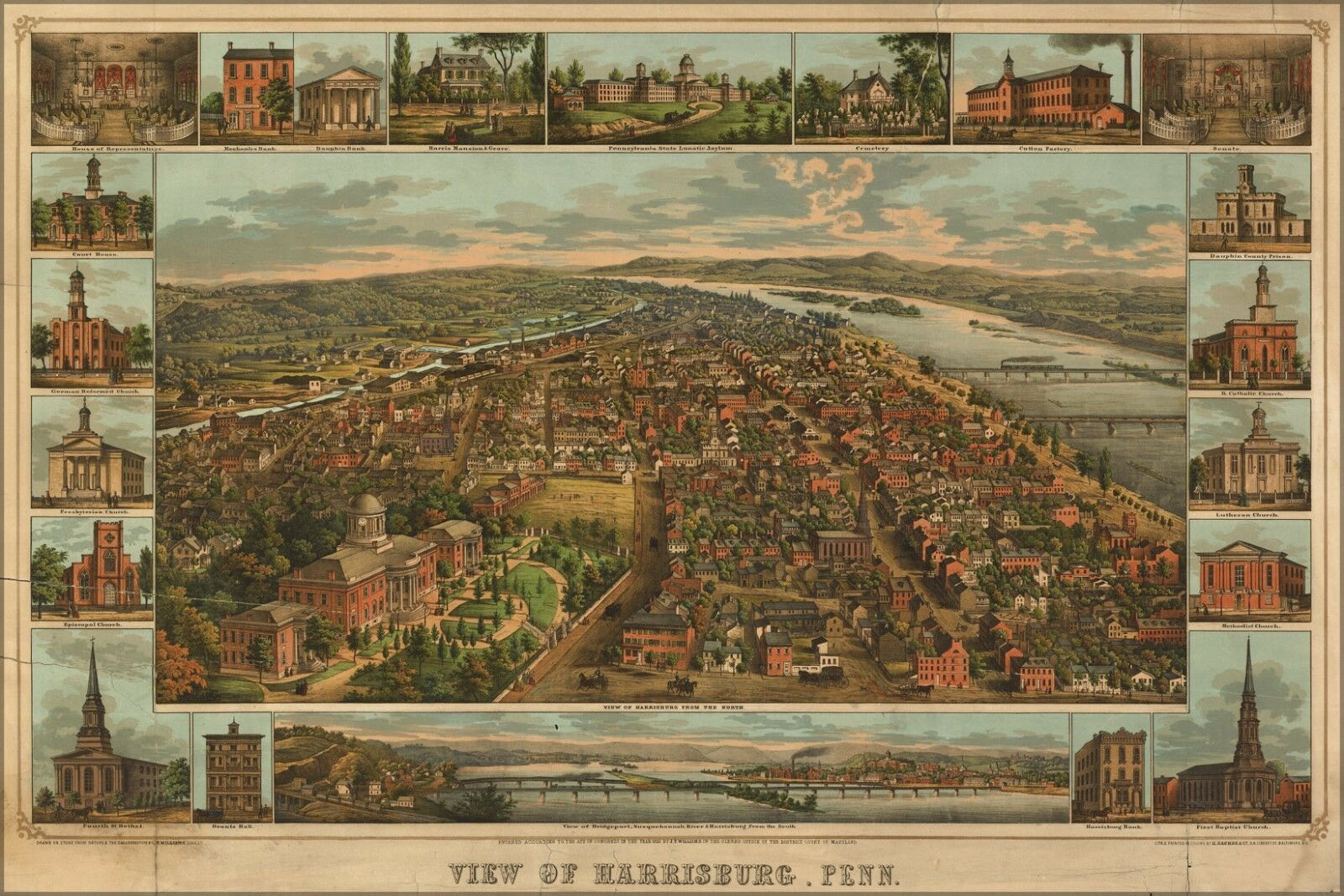 Poster, Many Größes; Birdseye View Map Of Harrisburg, Penn. 1855