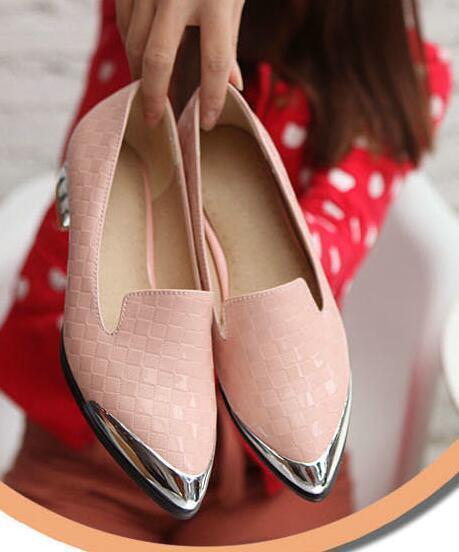 Ballerines mocassins chaussures pour femmes pan de la terre rose argenté talon 3